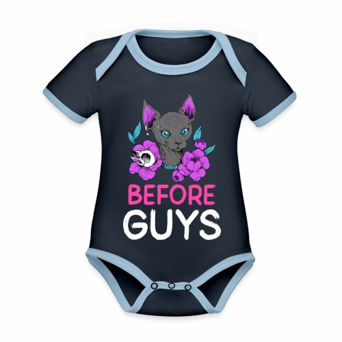 Cats Before Guys Anti Valentinstag Single Spruch - Baby Bio-Kurzarm-Kontrastbody
