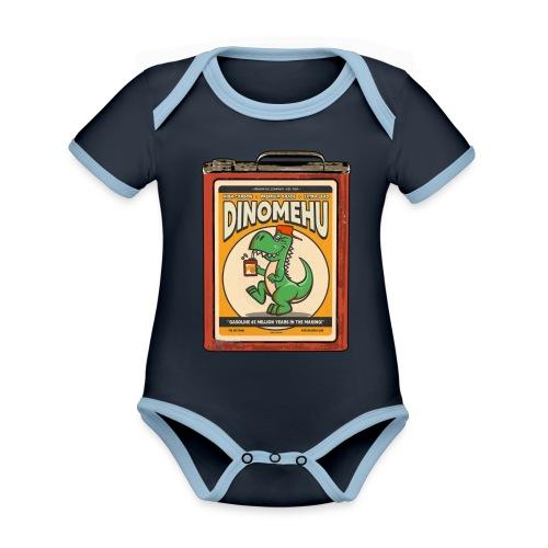 Dinomehu -kanisteri - Vauvan kontrastivärinen, lyhythihainen luomu-body