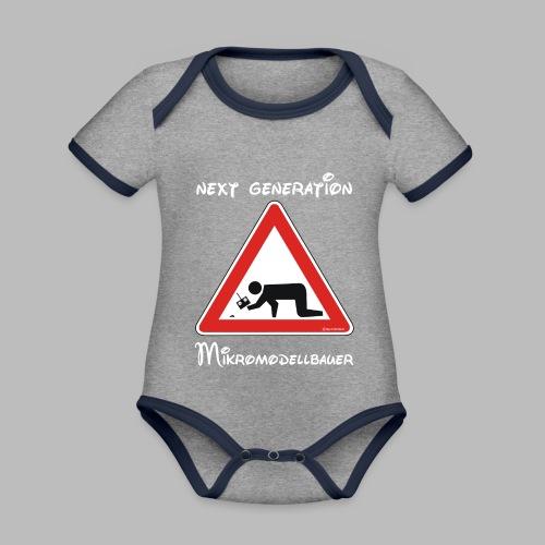 Warnschild Mikromodellbauer Next Generation - Baby Bio-Kurzarm-Kontrastbody