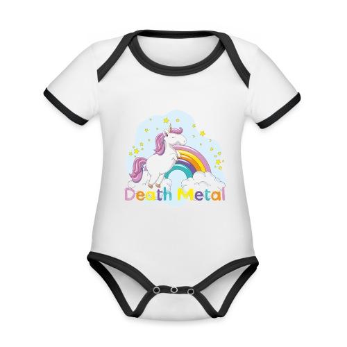 unicorn death metal - Baby contrasterend bio-rompertje met korte mouwen