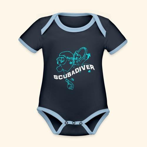 ScubaDiverShirt001 - Baby contrasterend bio-rompertje met korte mouwen