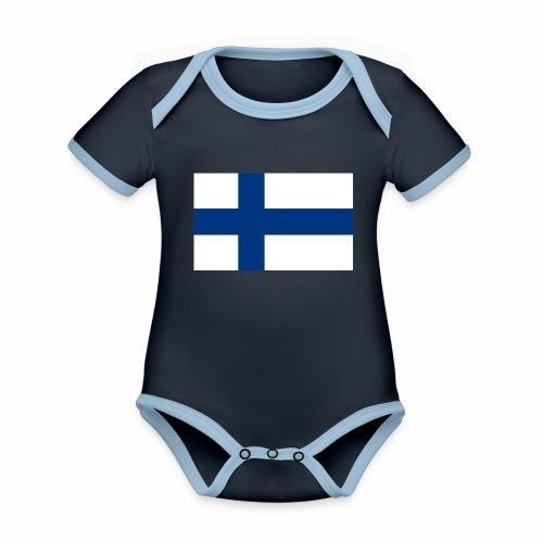 Suomenlippu - tuoteperhe - Vauvan kontrastivärinen, lyhythihainen luomu-body