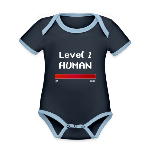 Level 1 Human - Kortærmet økologisk babybody i kontrastfarver