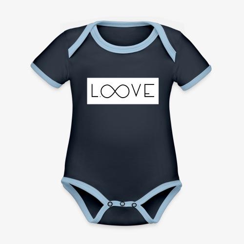 LOOVE Box Logo (SS18) - Body da neonato a manica corta, ecologico e in contrasto cromatico