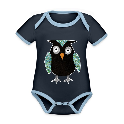 Collage mosaic owl - Organic Baby Contrasting Bodysuit