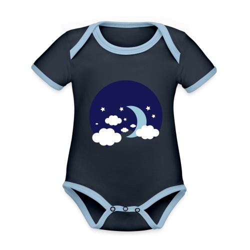 Lune - Body Bébé bio contrasté manches courtes