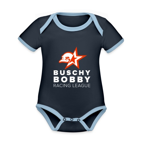 Buschy Bobby Racing League on black - Organic Baby Contrasting Bodysuit