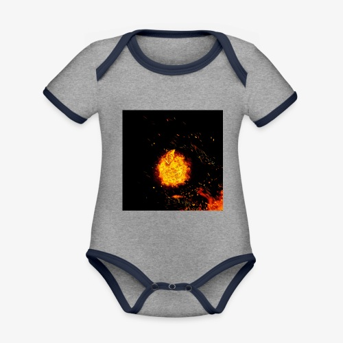 FIRE BEAST - Baby contrasterend bio-rompertje met korte mouwen