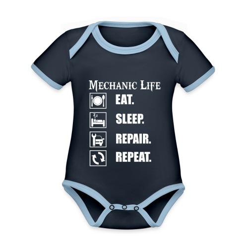 Das Leben als Mechaniker ist hart! Witziges Design - Baby Bio-Kurzarm-Kontrastbody