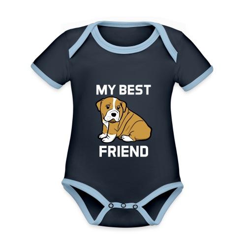 My Best Friend - Hundewelpen Spruch - Baby Bio-Kurzarm-Kontrastbody