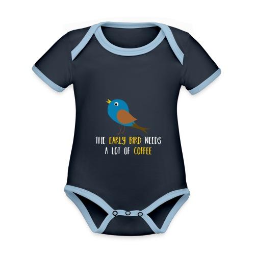 The early bird needs a lot of COFFEE v1 - Baby Bio-Kurzarm-Kontrastbody