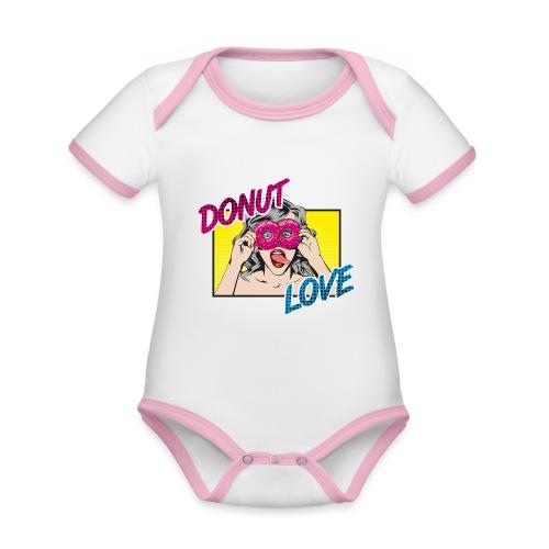 Popart - Donut Love - Zunge - Süßigkeit - Baby Bio-Kurzarm-Kontrastbody