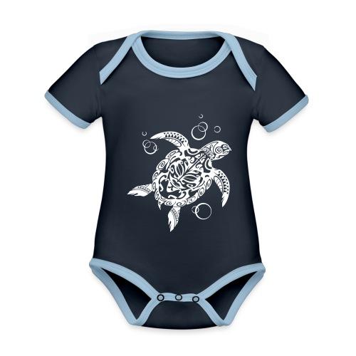 Watchful Turtle - Organic Baby Contrasting Bodysuit