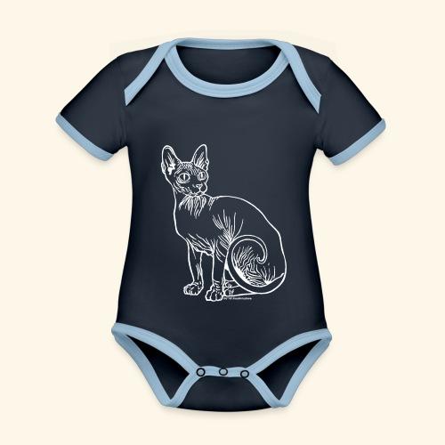 sushibianco - Body da neonato a manica corta, ecologico e in contrasto cromatico