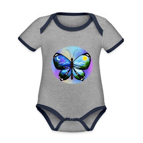 Blue Butterfly nature amazon - Body contraste para bebé de tejido orgánico
