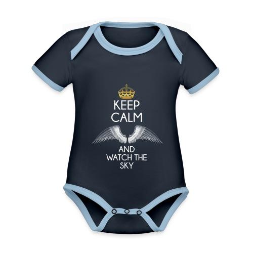 Keep Calm - Ekologiczne body niemowlęce z krótkim rękawem i kontrastowymi lamówkami