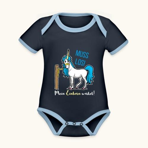 Dessin drôle de licorne disant bande dessinée cadeau - Body Bébé bio contrasté manches courtes