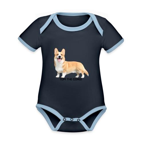Topi the Corgi - Black text - Organic Baby Contrasting Bodysuit
