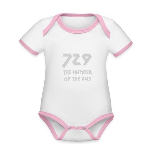 729 grande grigio - Body da neonato a manica corta, ecologico e in contrasto cromatico