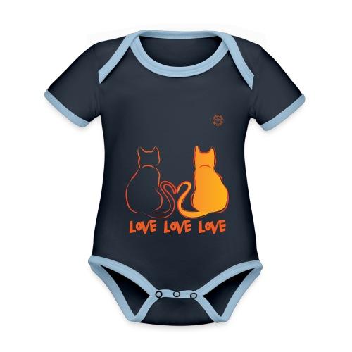 The Red Twins LOVE LOVE LOVE - Body da neonato a manica corta, ecologico e in contrasto cromatico