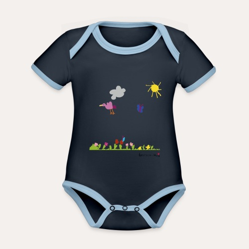 Blumenwiese von Marie - Baby Bio-Kurzarm-Kontrastbody