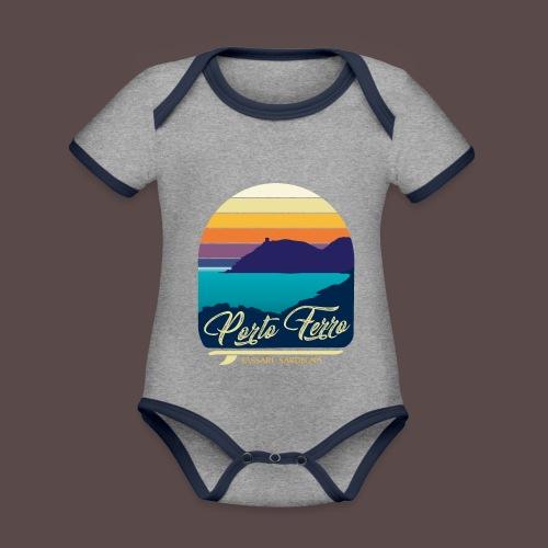 Porto Ferro - Vintage travel sunset - Body da neonato a manica corta, ecologico e in contrasto cromatico