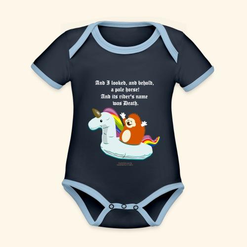 Geek T Shirt Igel, Einhorn & Johannes-Offenbarung - Baby Bio-Kurzarm-Kontrastbody