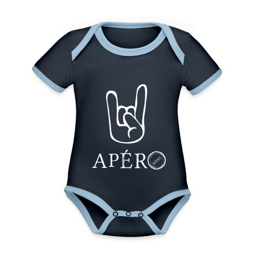 rock and apéro - Body Bébé bio contrasté manches courtes