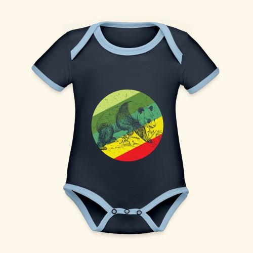 Chinese Panda Retro - Organic Baby Contrasting Bodysuit