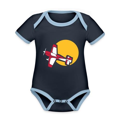 Flugzeug Jet Airplane Sky Himmel Sun Sonne Sport - Baby Bio-Kurzarm-Kontrastbody