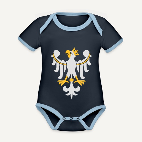 Orzeł Piastowski - Ekologiczne body niemowlęce z krótkim rękawem i kontrastowymi lamówkami