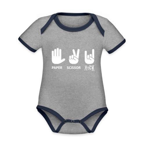 paper scissor rock - Baby contrasterend bio-rompertje met korte mouwen