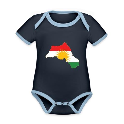 Kurdistan Flag Map - Baby Bio-Kurzarm-Kontrastbody