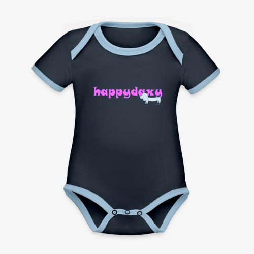 Happy Daxy Pink by Sue Anderson - Organic Baby Contrasting Bodysuit