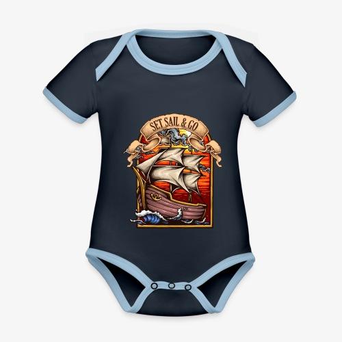 L'explorateur - Body Bébé bio contrasté manches courtes