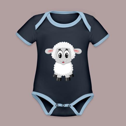 agnellino - Body da neonato a manica corta, ecologico e in contrasto cromatico