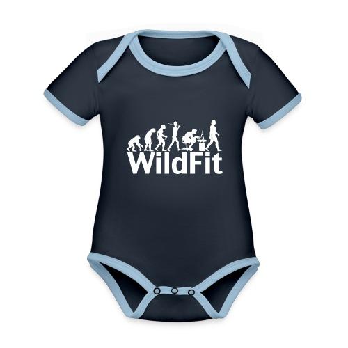 WildFit Logo Evolution Weiß - Baby Bio-Kurzarm-Kontrastbody