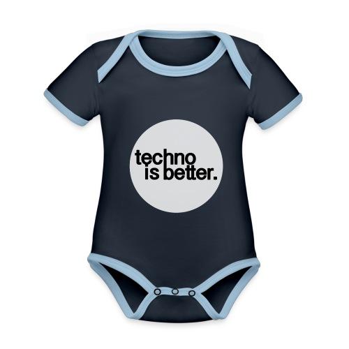 techno is better - Ekologiczne body niemowlęce z krótkim rękawem i kontrastowymi lamówkami
