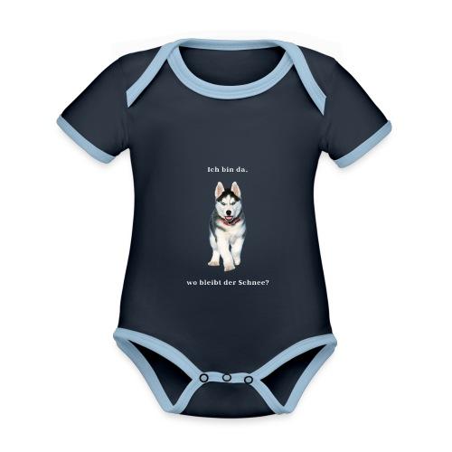 Husky Welpen mit bezaubernden Augen - Baby Bio-Kurzarm-Kontrastbody