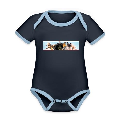 Animaux logo - Baby contrasterend bio-rompertje met korte mouwen