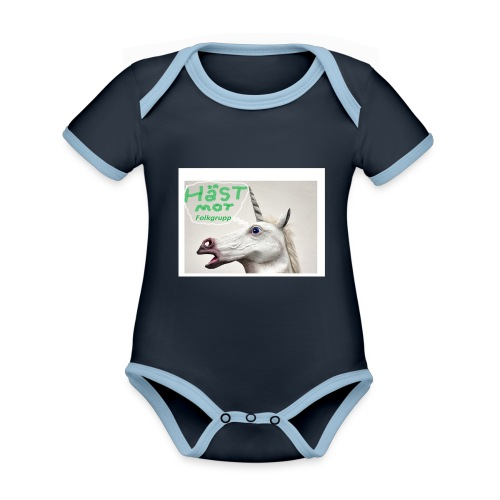 haest mot folkgrupp - Ekologisk kontrastfärgad kortärmad babybody