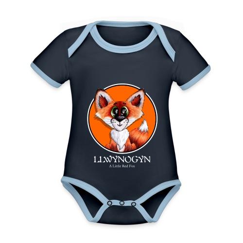 llwynogyn - a little red fox (white) - Vauvan kontrastivärinen, lyhythihainen luomu-body