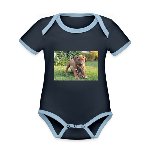 adorable puppies - Organic Baby Contrasting Bodysuit
