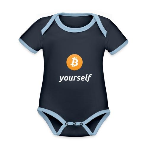 cryptocool b yourself white font -bitcoin logo - Baby contrasterend bio-rompertje met korte mouwen
