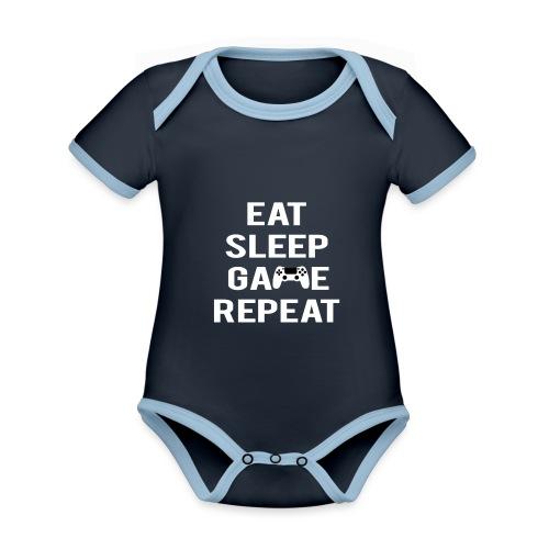 Eat, sleep, game, REPEAT - Organic Baby Contrasting Bodysuit