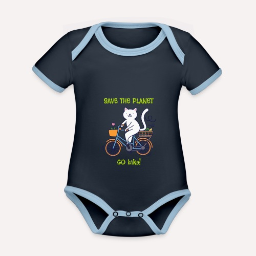 Caring About Climate? Save The Planet Go Bike! - Organic Baby Contrasting Bodysuit