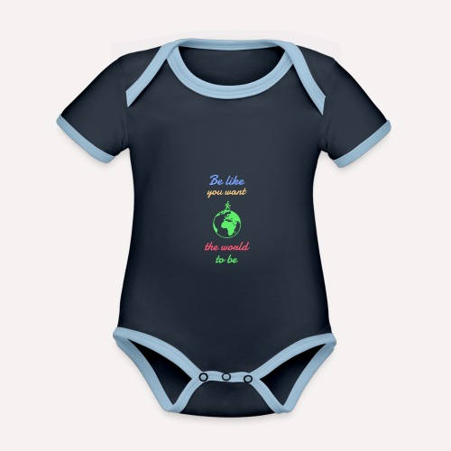 Caring About climate? Save The Planet Print Design - Organic Baby Contrasting Bodysuit