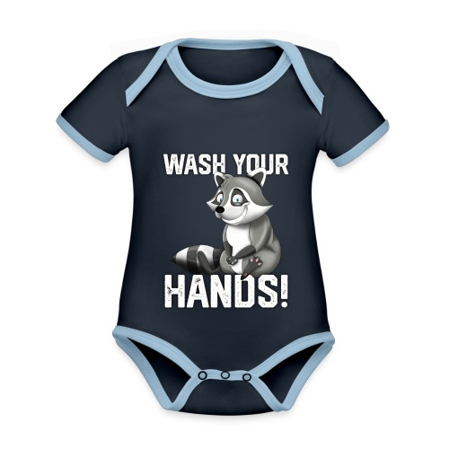 Wash Your Hands | Raccoon Lover | Wash Hand - Body da neonato a manica corta, ecologico e in contrasto cromatico