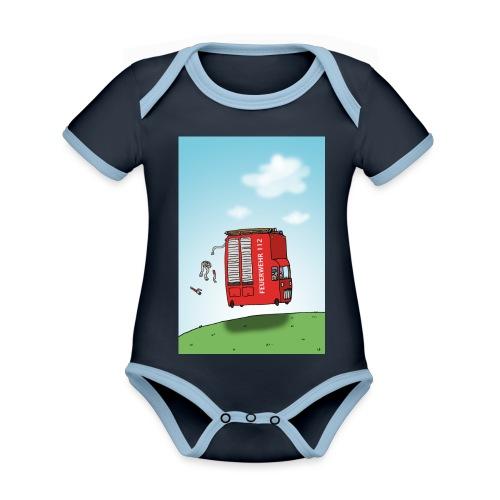 Feuerwehrwagen - Baby Bio-Kurzarm-Kontrastbody