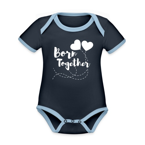 Born together Geschwister Zwillinge Partnerlook - Baby Bio-Kurzarm-Kontrastbody